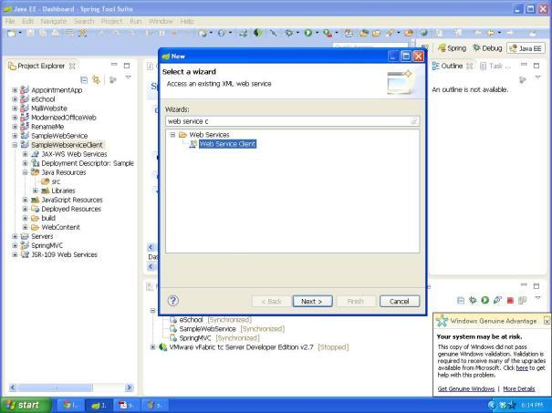 Select webservice cliet
