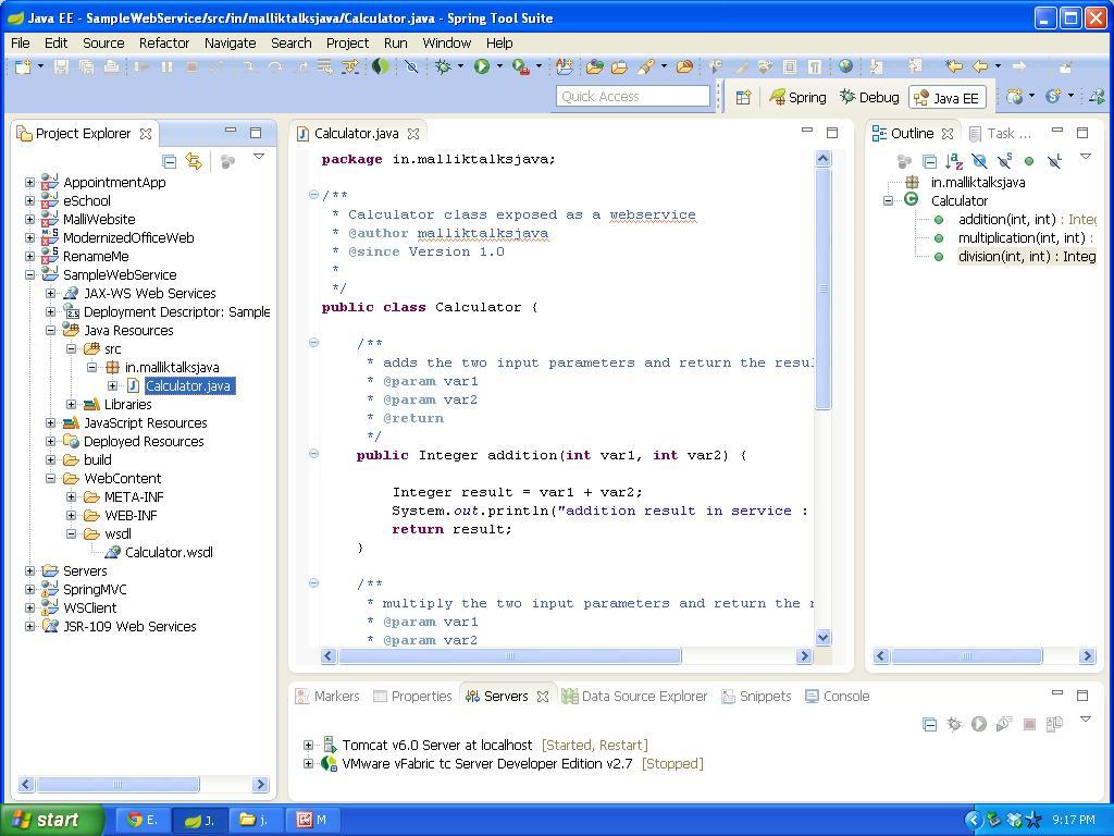 Create a java webservice using STS   Java Tutorials