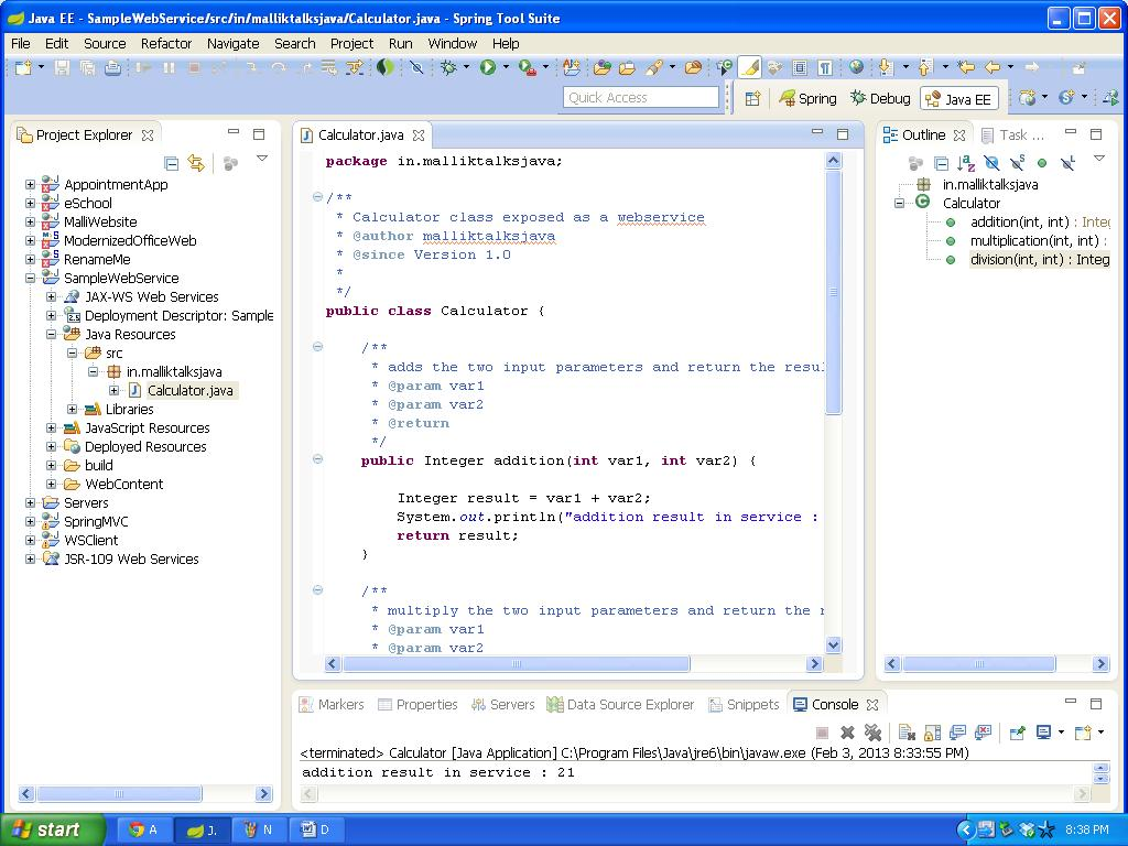Create a java webservice using sts java tutorials write the class baditri Images