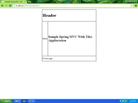 Sample Spring MVC With Tiles framework application